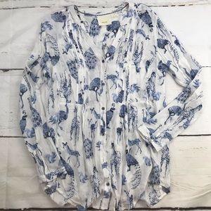Anthro Maeve blue white animal button down blouse
